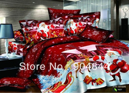new arrival 100% cotton printed bedroom red cartoon quilt duvet covers sets Christmas Santa Claus bedding sets