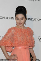 award actress - 2013 th Oscar Chinese Famous Actress Orange Exquisite Celebrity Dresses