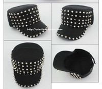 Wholesale Rivets Spikes Studded Cap flat top cotton hat unisex leisure army cap Outdoor Sports Baseball Caps