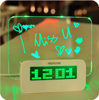 Wholesale Hot Selling Special USB Fluorescent plate mute luminous multifunctional Message Board alarm clock
