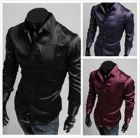 Wholesale men s Shirts Slim Korean Long sleeve shirt Emulation silk shiny Easy care Shirts