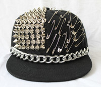 Plain Dyed Top Hats Plain Hip hop rivet safety pins ball Hat Spikes Spiky Studded flat visor Cap party dance hat