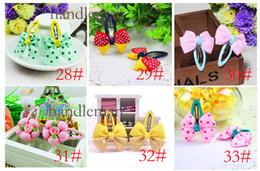 Wholesale 33 Designs HOT SALE Baby Hairpins Children Grosgrain Bows Hairbands Kids Hairclips Accessory