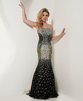 Wholesale Black Strapless Mermaid Evening dress Rhinestone Beads Sweep Train prom dress new arrival R