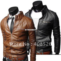 Wholesale New Korean Style Men s Slim Zipper Designed PU Leather Coat Jacket Colors L XL XXL Brown Black fre