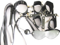 Wholesale 8 in PU Sex SM Hand Cuff Foot Cuff Neck Collar Eye Mask Whip Gag Clip JD1137
