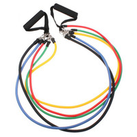 Wholesale Latex Resistance Bands Fitness Exercise Tube Rope Set Yoga ABS Workout H8329 Freeshipping