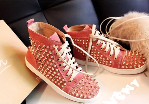 Metal Punk Red Flat Shoes Women Pink Stylish Genuine Leather Rivets