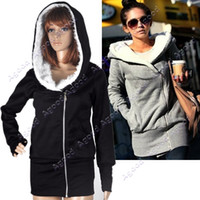 Wholesale Korea Women Hoodie Warm Outerwear hooded Zip Gray Black Fashion Special Agood