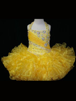 Wholesale Halter Top Little Rosie Cupcake Dress Lovely Little Rosie Yellow Glitz Toddler Pageant Dress SR262
