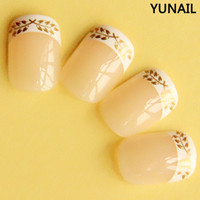 Wholesale 2013 new Natural top quality short design french style false nails small finger nail art tips with wheat print set