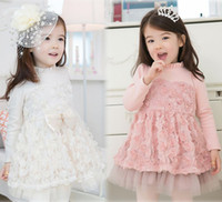 2013 Spring Rose Lace Dress Pink Girls Dresses children's cl...