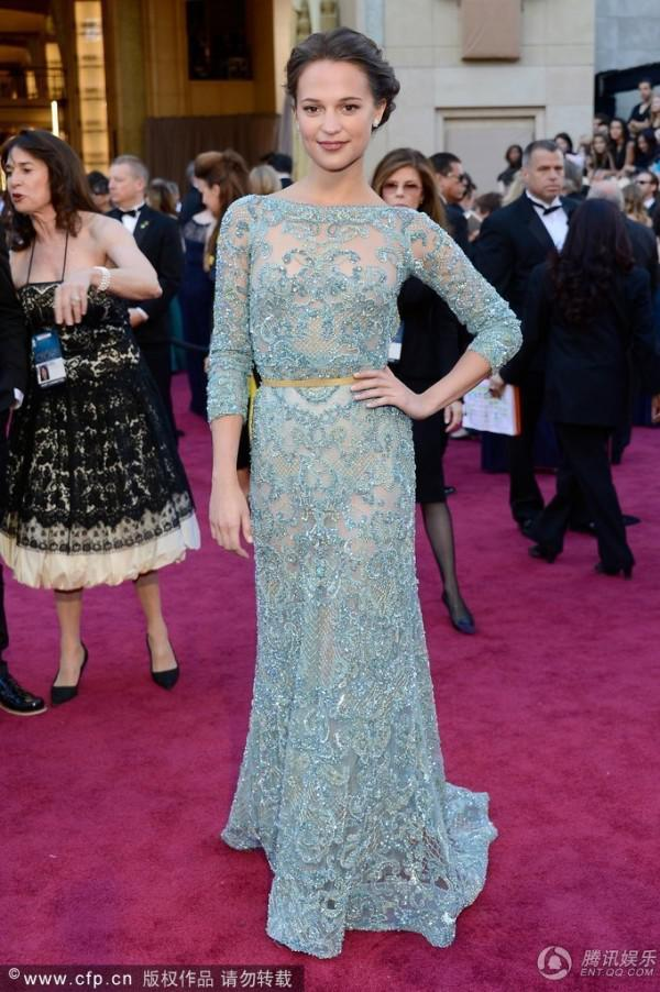 2013 85th Oscar Alicia Vikander Light Blue Sexy Lace Celebrity Dresses