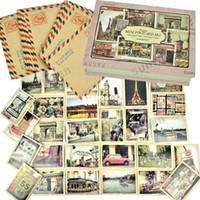 Wholesale New About Paris London Italy Mini Postcard Set Sheets Mini Envelope Greeting Cards Sheets fre