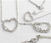 Wholesale Korean Heart Diamond jewelry lady double heart shining diamond sweater chain necklace