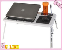 Wholesale Folding multi function laptop in bed computer desk with two fan radiator lazy table sm