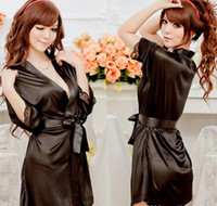Wholesale Women Sexy Satin Lingerie Sleepwear Nightdress Robes Lace G string Gown