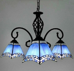 Wholesale Antique Inspired Tiffany Artistic Glass Chandelier With Lights in Blue Lampshade Pendant Light