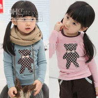 Wholesale kids cute bear bowtie woolen tees shirts girls jersey tops blouses sweatshirts t shirts outfits F666