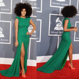 Wholesale New Solange Knowles Cap Sleeve Celebrity Dresses High Neck Sequins Beaded Green Sexy Evening Dresses