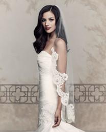 Wholesale MOdern Elegant Cheap Lace Trim Veils Mantilla Wedding Veils Bridal Veils Paloma Blanca