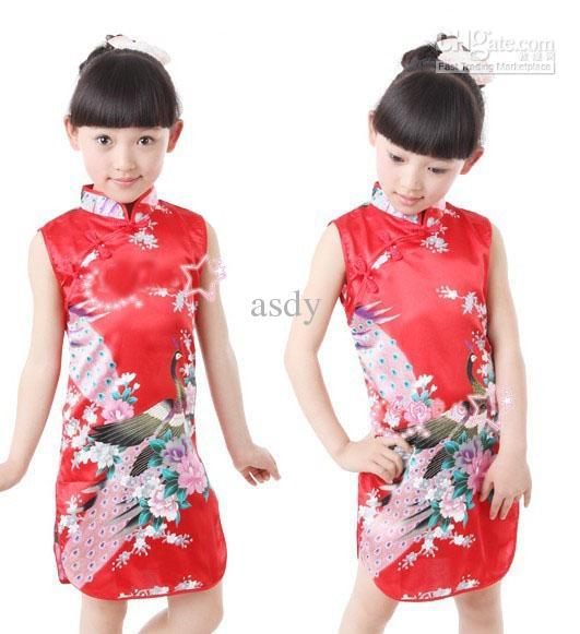 Chinese silk qipao dress girls cheongsam summer peacock dress skirt