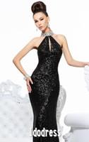 Wholesale Black Halter Sequin Sheath Floor Length Evening dress Rhinestone Sleeveless prom dress R