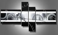 al por mayor lona estirada-Reproducción en lienzo abstracto pintura al óleo obra Negro Blanco Gris moderno de la decoración hecha a mano del hotel de Ministerio del Interior arte de la pared decoración nave libre del regalo