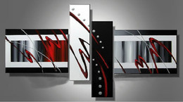 Stretched Contemporary abstract oil painting canvas Black White Red artwork Modern decoration handmade home office hotel wall art decor Gift