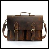 Wholesale A Class CRAZY HORSE Leather Briefcase Hand Made Men s Messenger Bag Laptop Hand Bags LT09