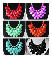 Wholesale Bohemian Bubble Statement Necklaces Bib Necklace Multi Layers Beads Chunky Necklaces