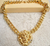 Celtic lion head necklace - Freeshipping Fashion New Chunky Unique Gold Plating Link Animal Jewelry Lion Head Choker Necklace