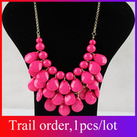 Wholesale 2013 New Golden Chunky Multi Layers Resin Gem Round Bib Statement Necklace Colors Option XL59