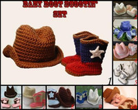 0-12 Months Crochet Hats Christmas 15%off!EMS free shipping! *Baby cowboy hat and shoes Crochet Baby Cowboy Hat and Boots set!15set
