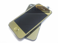 Touch Screen display mirror - Gold Mirror LCD Display Touch Screen Digitizer Back Cover Home Key For iPhone S GS