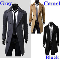 Wholesale Christmas Shawl Men - New Men's Trench Coat Double Breasted Notched Shawl Lapel Winter Overcoat 3 colors cvfg