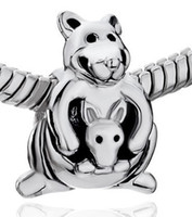 Round Silver Plated Angel 20%OFF! CUTE KANGAROO CARRYING BABY SILVER PLATED charm bead For Pandora necklace bracelet 60pcs