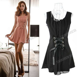 Wholesale Black Pink Casual Women s Sexy Lace Up Splicing Sleeveless Short Chiffon Dress Party Dress free ship