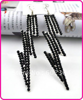 Wholesale black crystal bamboo earring E103029