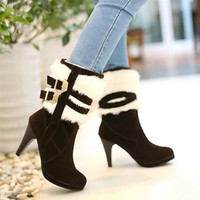 Ankle Boots 0 Stiletto Heel girl Rave personality Suede VINTAGE Martin boots high-heeled shoes B6-31-5808-5 30-48size