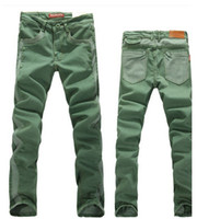 Wholesale new brand jeans men classic style skinny jeans contrast color denim designer jeans green