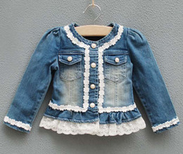 Wholesale Jeans Jacket Children Outwear Girls Cute Lace Jackets Kids Blue Denim Coats Fashion Long Sleeve Tops