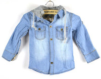 Wholesale Boys Hooded Jackets Kids Blue Denim Coats Fashion Long Sleeve Tops Jeans Jacket Children Outwear
