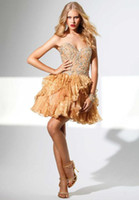 Wholesale New arrival Beaded sequin ball gown gold organza homecoming dress short party gown NPD520