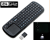 Wholesale 2 G RF Mini Wireless Handheld Keyboard Touchpad with Smart TV PC LED light fly mouse