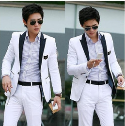 Wholesale NWT Fashion Men s Suit Coat Top One Button South Korean Style Slim amp Fit White suit M XL X06A