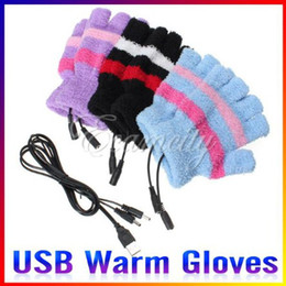 Wholesale Laptop USB Heating Winter Warm Hot Hands Gloves Heated Warmer Woolen Fingerless