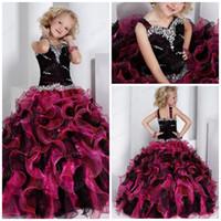 2015 colorido Organza niñas vestidos de novia Crystal Ruffles palabra de longitud vestido del desfile de la princesa del vestido de bola AN292