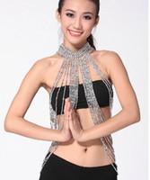 achat en gros de perles de danse-Danse du ventre Perles faites à la main Collier élastique Long Collier Bijoux Or Argent