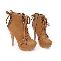 Women Pumps Stiletto Heel women's girl VINTAGE lace loop Party Martin boots high-heeled shoes Knight Boots N6-5-077-7